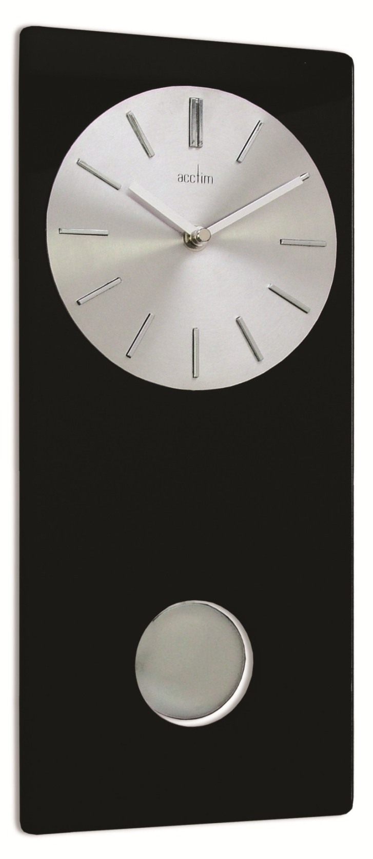 Acctim Basilea Contemporary Design Metal Dial Black Glass Pendulum Clock