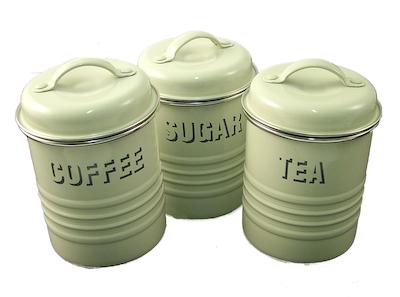 typhoon vintage cream coffee sugar and tea canister set. Black Bedroom Furniture Sets. Home Design Ideas