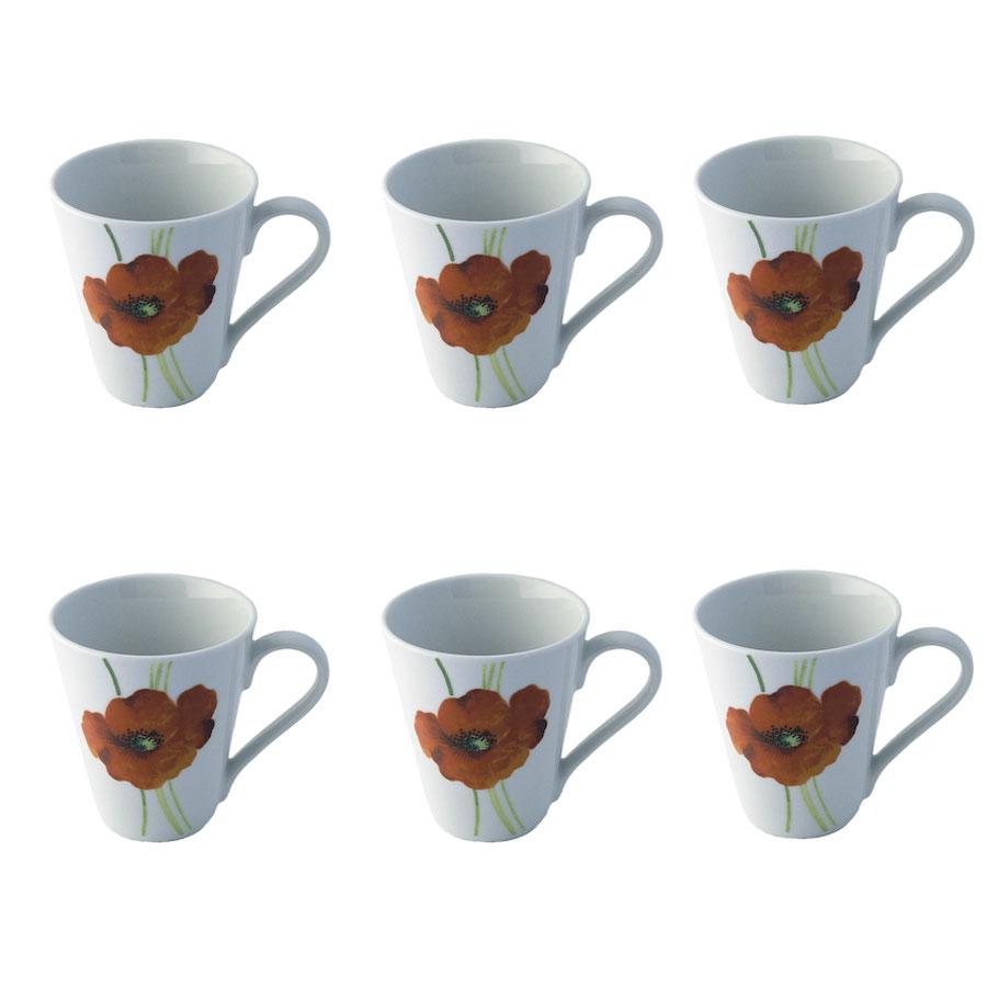 Rayware alpine poppy coffee mug cup strong fine stoneware for Alpine cuisine fine porcelain