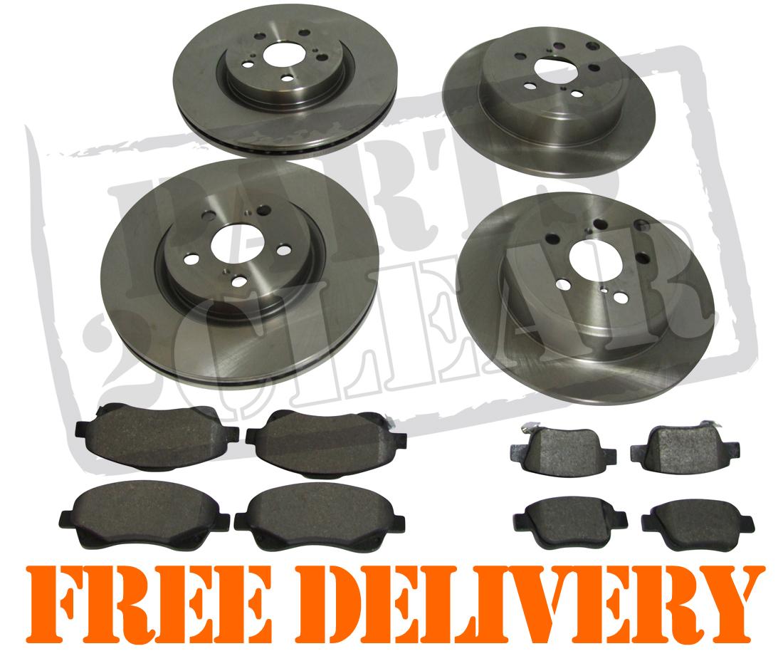toyota avensis 2 0 d 4d front rear brake discs pads set kit 295mm 280mm 03 ebay. Black Bedroom Furniture Sets. Home Design Ideas