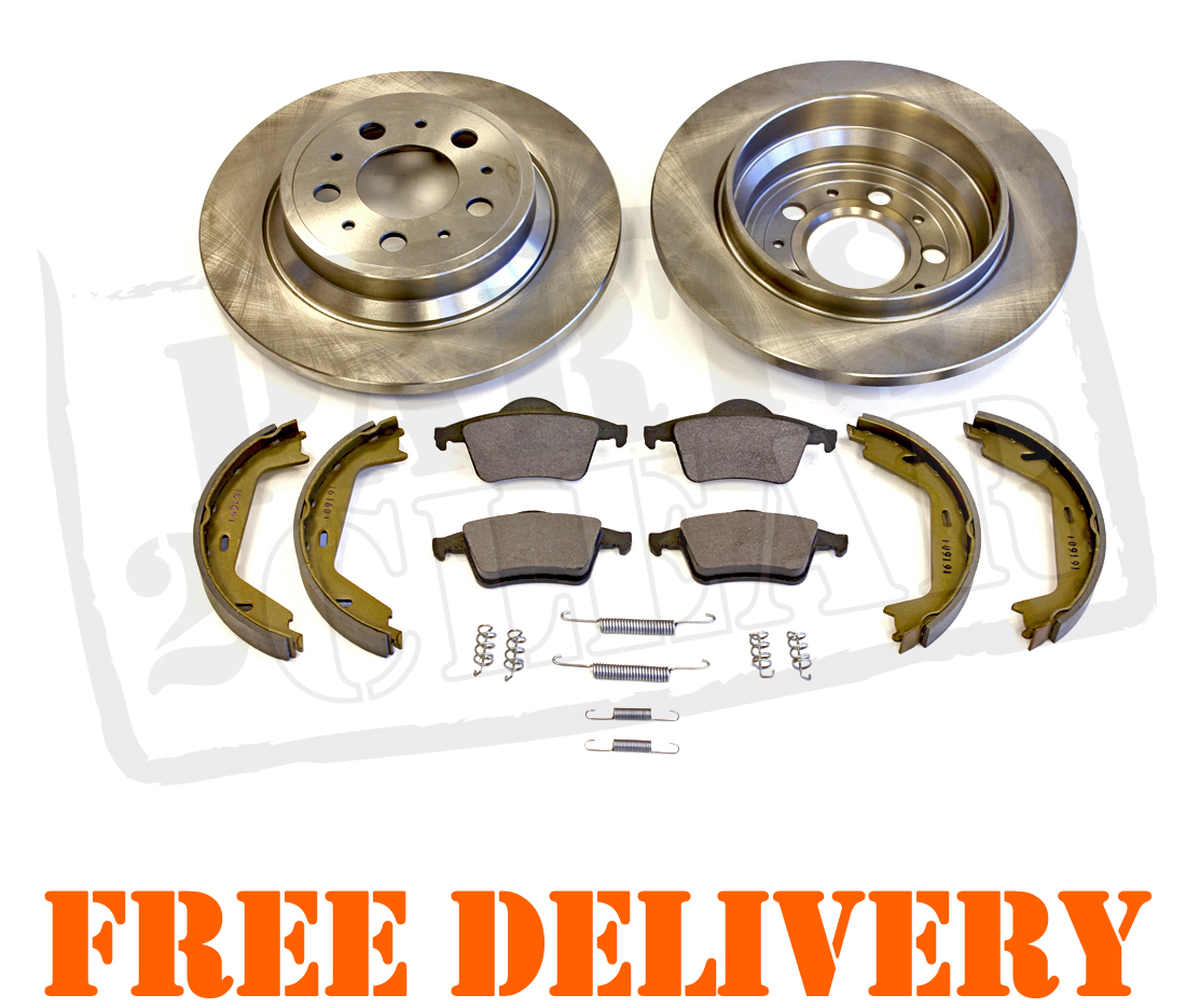 VOLVO S60 S80 REAR BRAKE DISCS & PADS HAND BRAKE SHOES & FITTING KIT