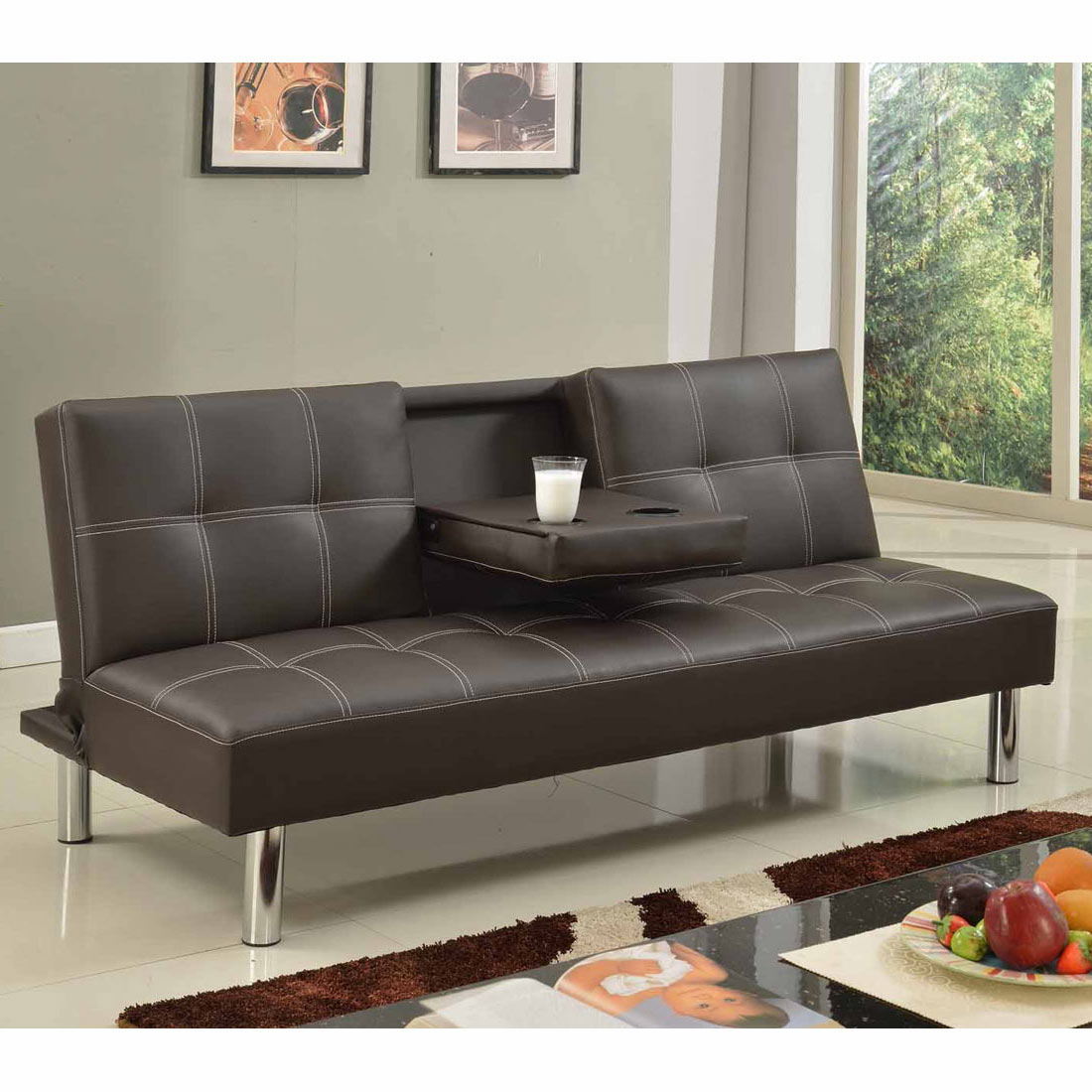 Cinemo 3 Seater Sofa Bed Faux Leather W Fold Down Table Chrome Legs Futon Ebay