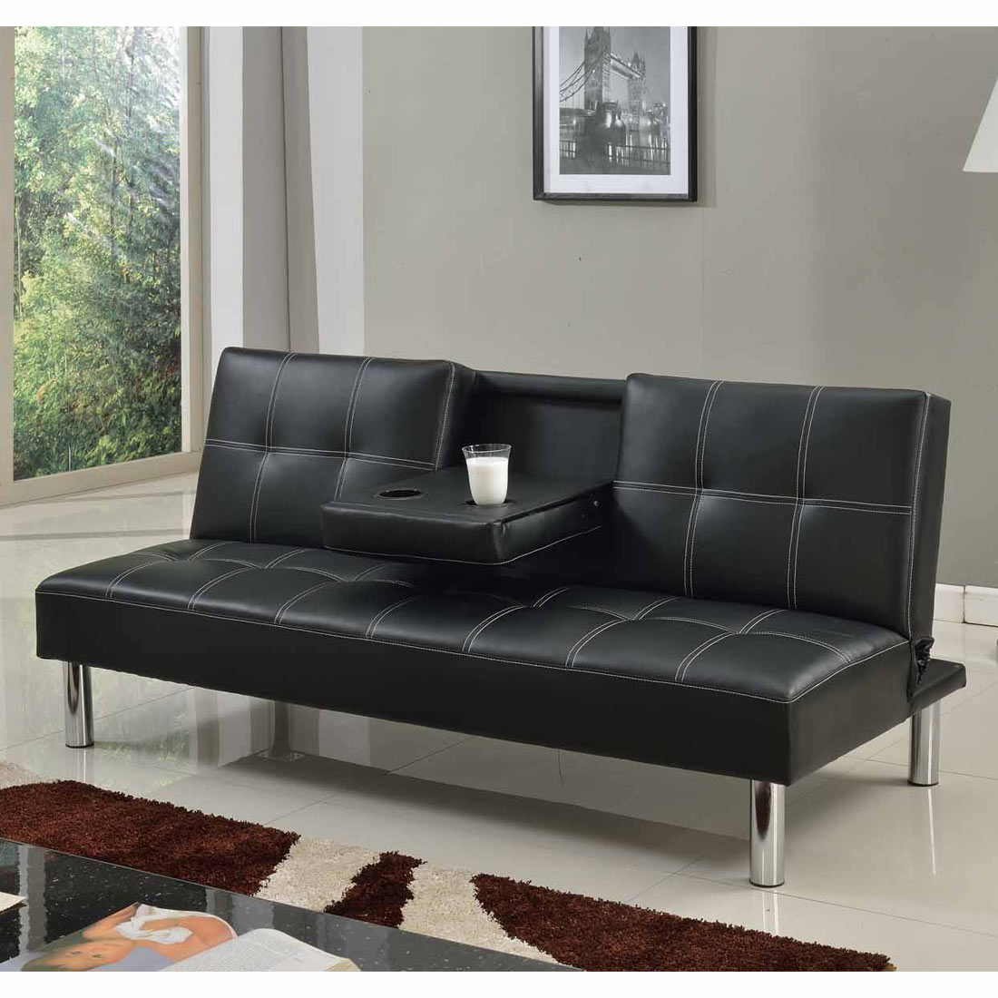cinemo 3 seater sofa bed faux leather w fold down table. Black Bedroom Furniture Sets. Home Design Ideas