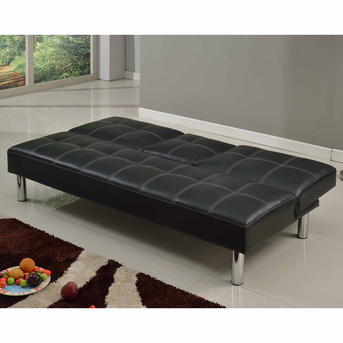 Cinemo 3 Seater Black Sofa Bed Faux Leather W Fold Down Table Chrome Legs Ebay