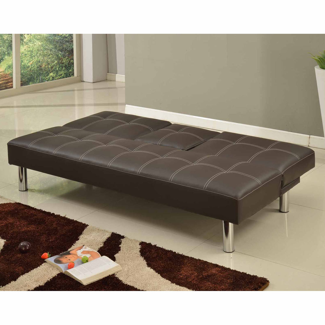 Cinemo 3 Seater Brown Sofa Bed Faux Leather W Fold Down Table Chrome Legs Ebay