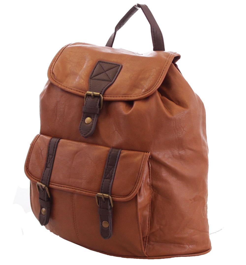 ladies womens vintage faux leather backpack rucksack. Black Bedroom Furniture Sets. Home Design Ideas