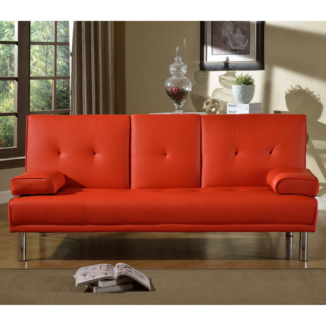 Rome 3 Seater Red Sofa Bed Faux Leather W Fold Down Table Chrome Leges Pillows Ebay