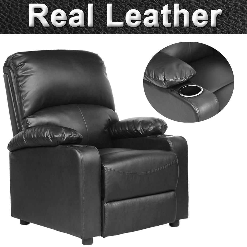 KINO-REAL-LEATHER-RECLINER-w-DRINK-HOLDERS-ARMCHAIR-SOFA-CHAIR-RECLINING-CINEMA