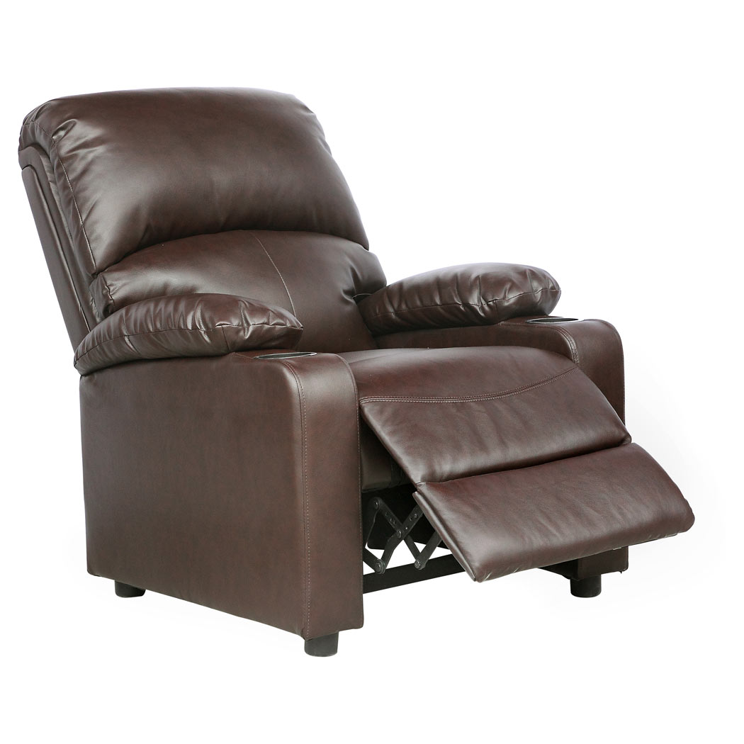 kino real brown leather recliner w drink holders armchair. Black Bedroom Furniture Sets. Home Design Ideas