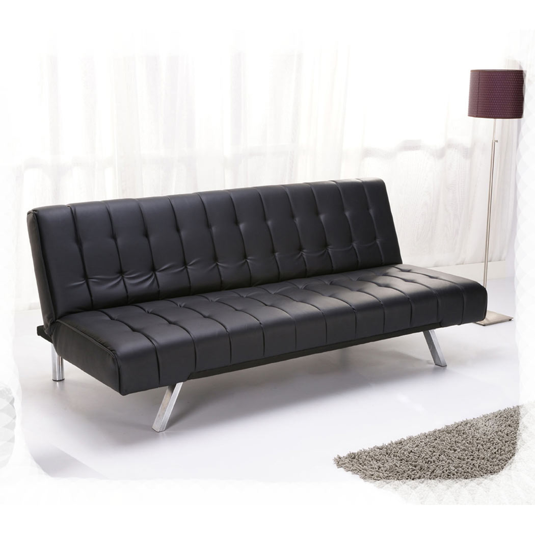 Aqua 3 Seater Sofa Bed Faux Leather W Metal Legs Modern Luxury Futon New Ebay