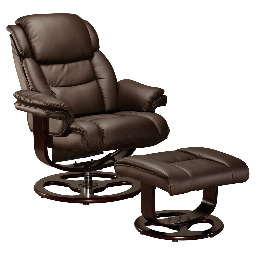 Vienna real leather swivel recliner chair w foot stool armchair home office ebay - Swivel feet for chairs ...