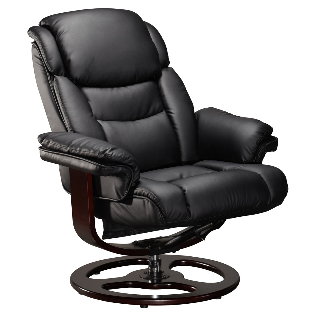 vienna real leather black swivel recliner chair w foot stool armchair