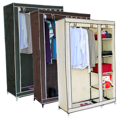 DOUBLE-CANVAS-WARDROBE-w-HANGING-RAIL-amp-STORAGE-SHELVES