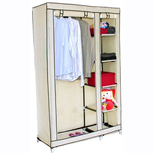 DOUBLE-CANVAS-WARDROBE-w-HANGING-RAIL-STORAGE-SHELVES