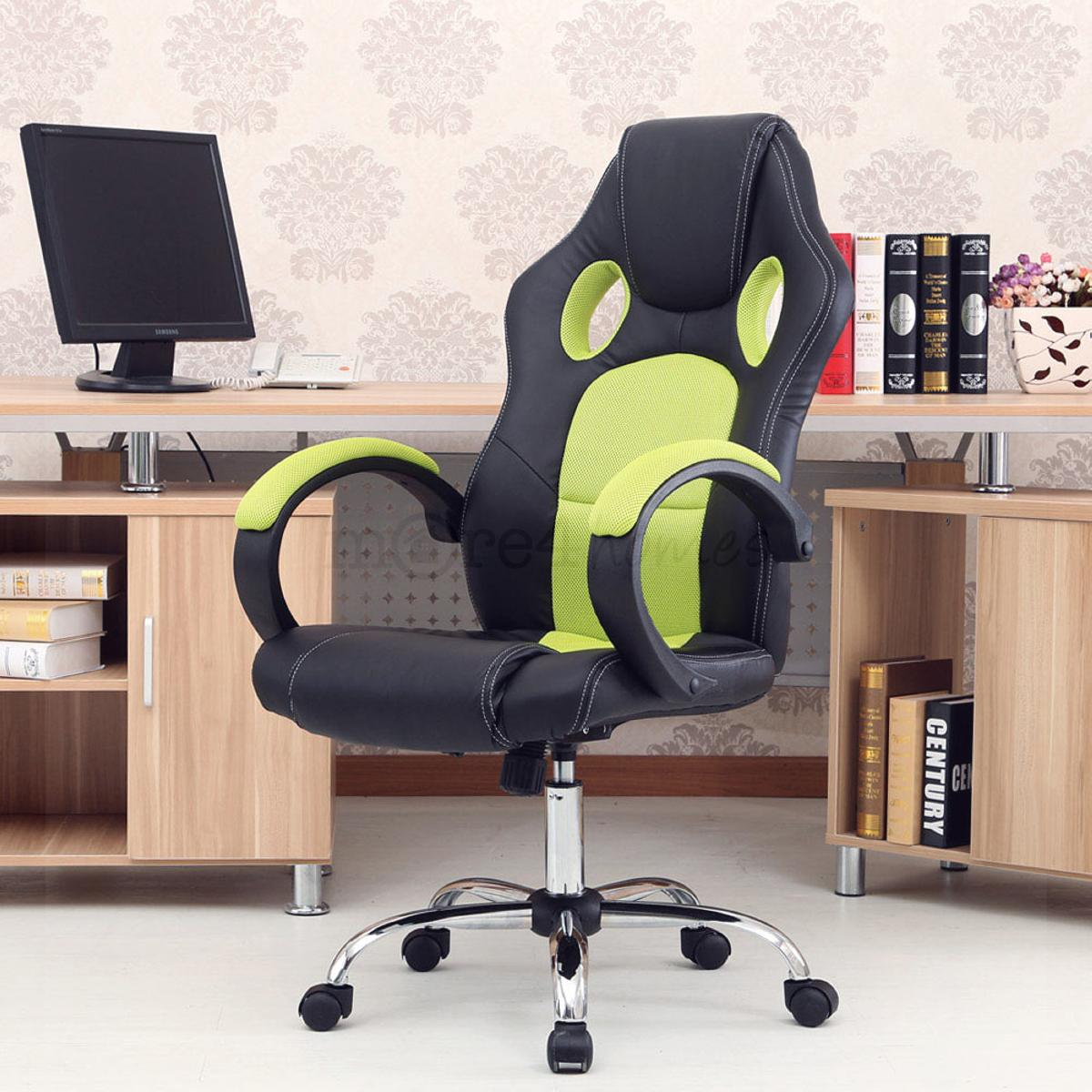 racing car office chair faux leather mesh bucket computer desk ebay