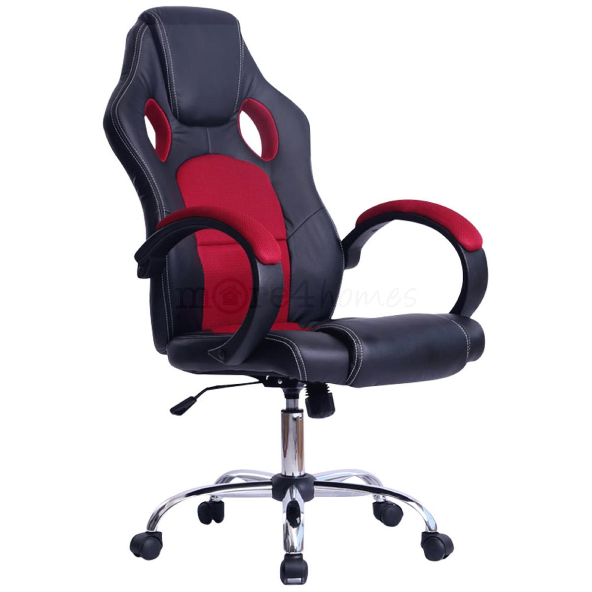 Computer Office Racing Bucket Seat Chair Red And Black Car Tuning