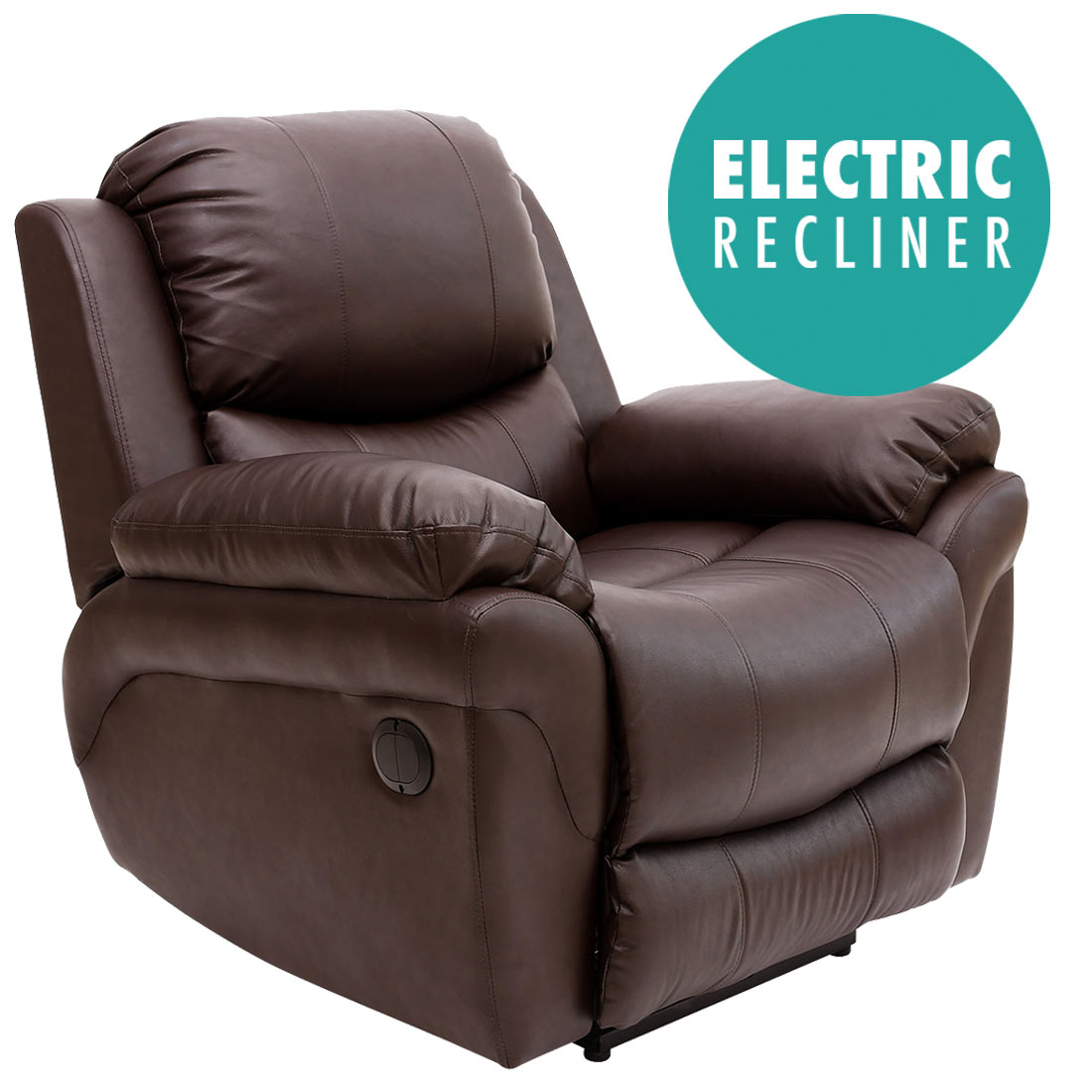 MADISON ELECTRIC BROWN REAL LEATHER AUTO RECLINER ARMCHAIR ...