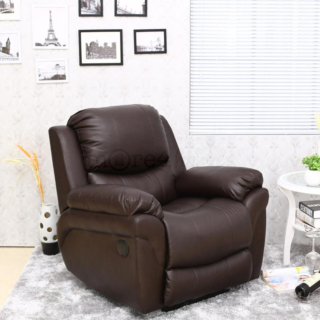 Madison Electric Brown Real Leather Auto Recliner Armchair
