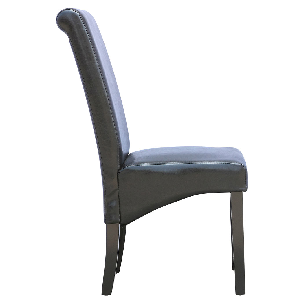 cambridge faux leather dining chair w roll top high back solid wood