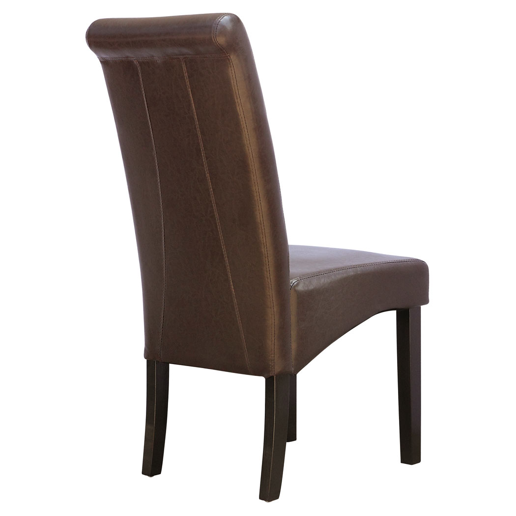 CAMBRIDGE FAUX LEATHER DINING CHAIR w ROLL TOP HIGH BACK  : 1057KD BrownDL Pic2 from www.ebay.co.uk size 1050 x 1050 jpeg 57kB
