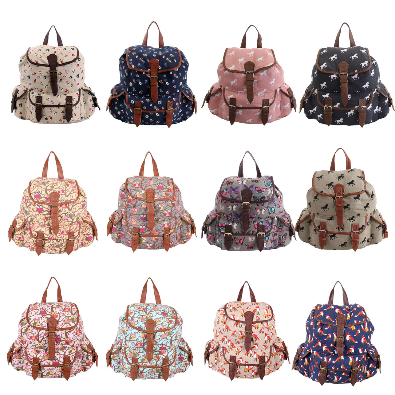 Ladies Womens Canvas Horse Rucksack Backpack Shoulder School ...