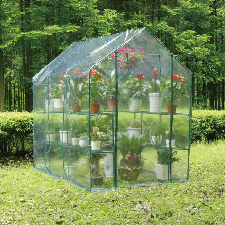 walk in outdoor garden greenhouse shelves plastic cover