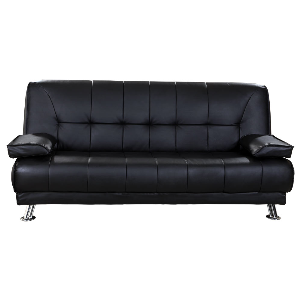 venice 3 seater black sofa bed faux leather w chrome legs cushions pillows futon ebay. Black Bedroom Furniture Sets. Home Design Ideas