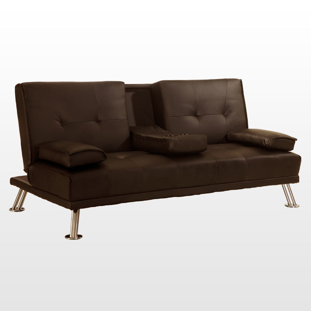 Rome 3 Seater Sofa Bed Faux Leather W Fold Down Table Chrome Legs Pillows Futon Ebay