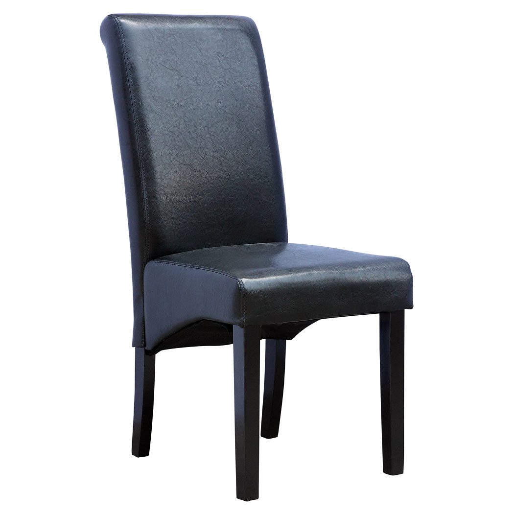 CAMBRIDGE FAUX LEATHER DINING CHAIR w ROLL TOP HIGH BACK ...