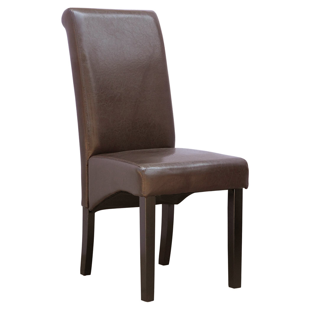 Cambridge faux leather dining chair w roll top high back for Leather back dining chairs