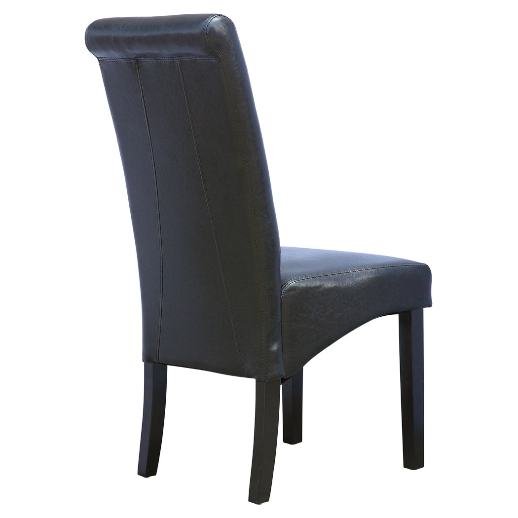 6 x cambridge leather black dining chair w dark wood legs roll top high back ebay. Black Bedroom Furniture Sets. Home Design Ideas