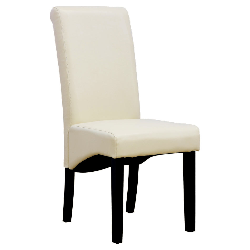 Cambridge leather cream dining chair w dark wood legs