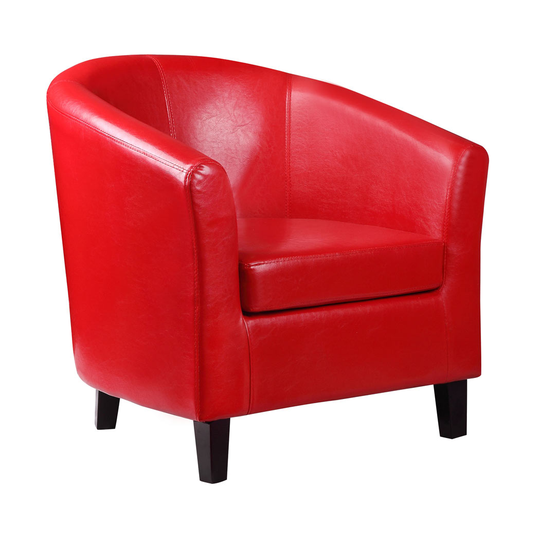 2 X Kent Red Faux Leather Tub Chair Armchair Ideal For