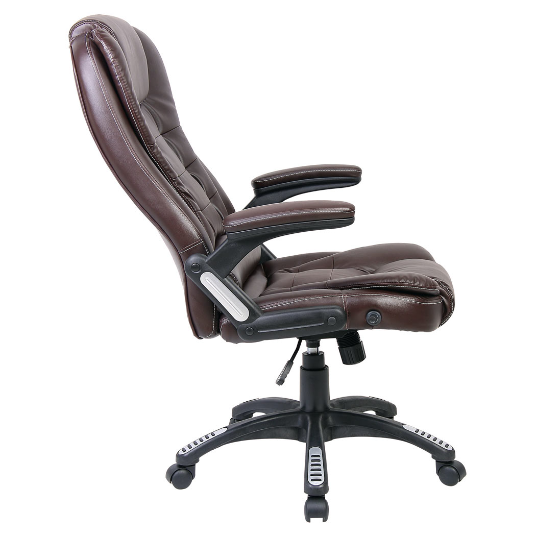 rio brown luxury reclining executive office desk chair faux leather high back ebay. Black Bedroom Furniture Sets. Home Design Ideas