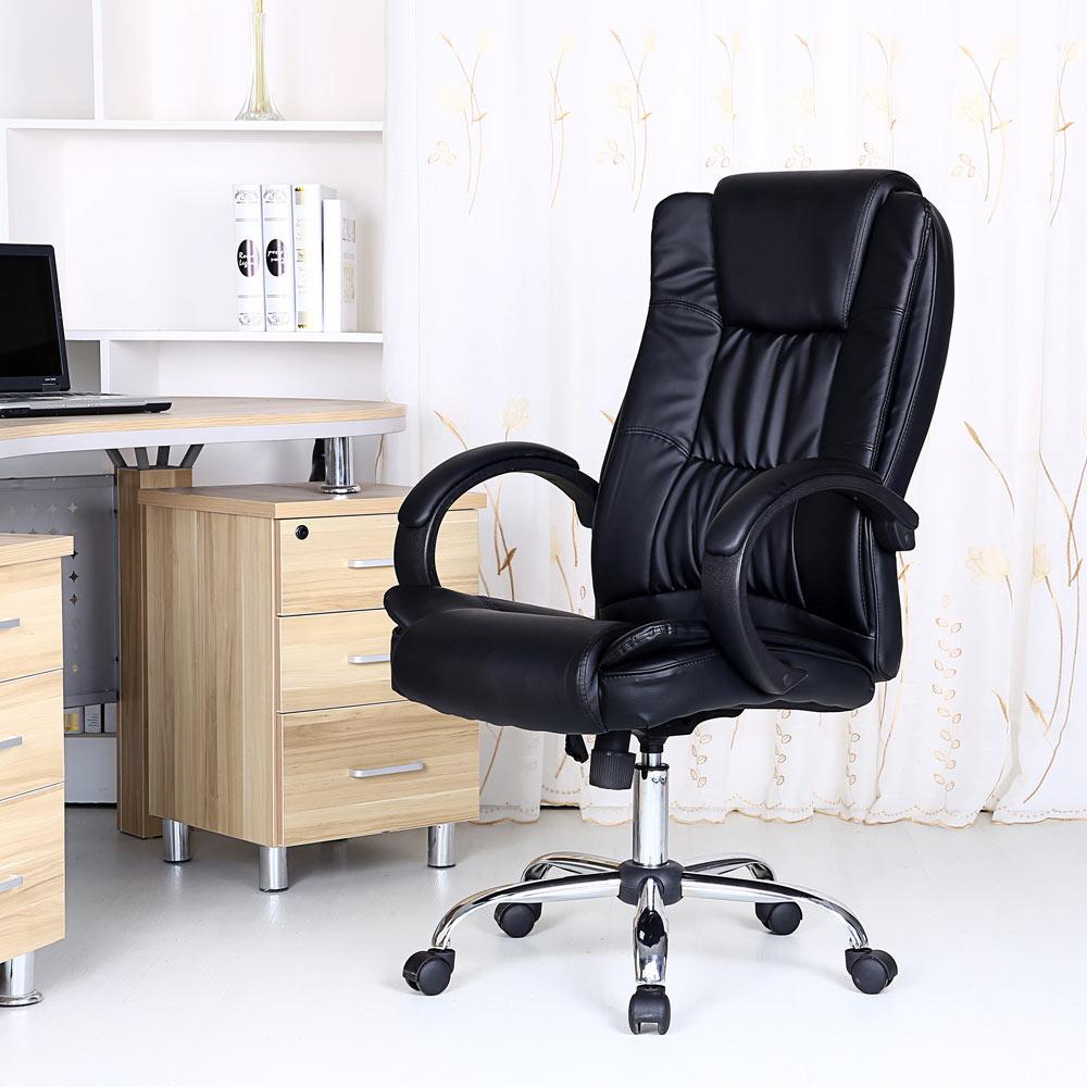 Santana Black High Back Executive Office Chair Leather