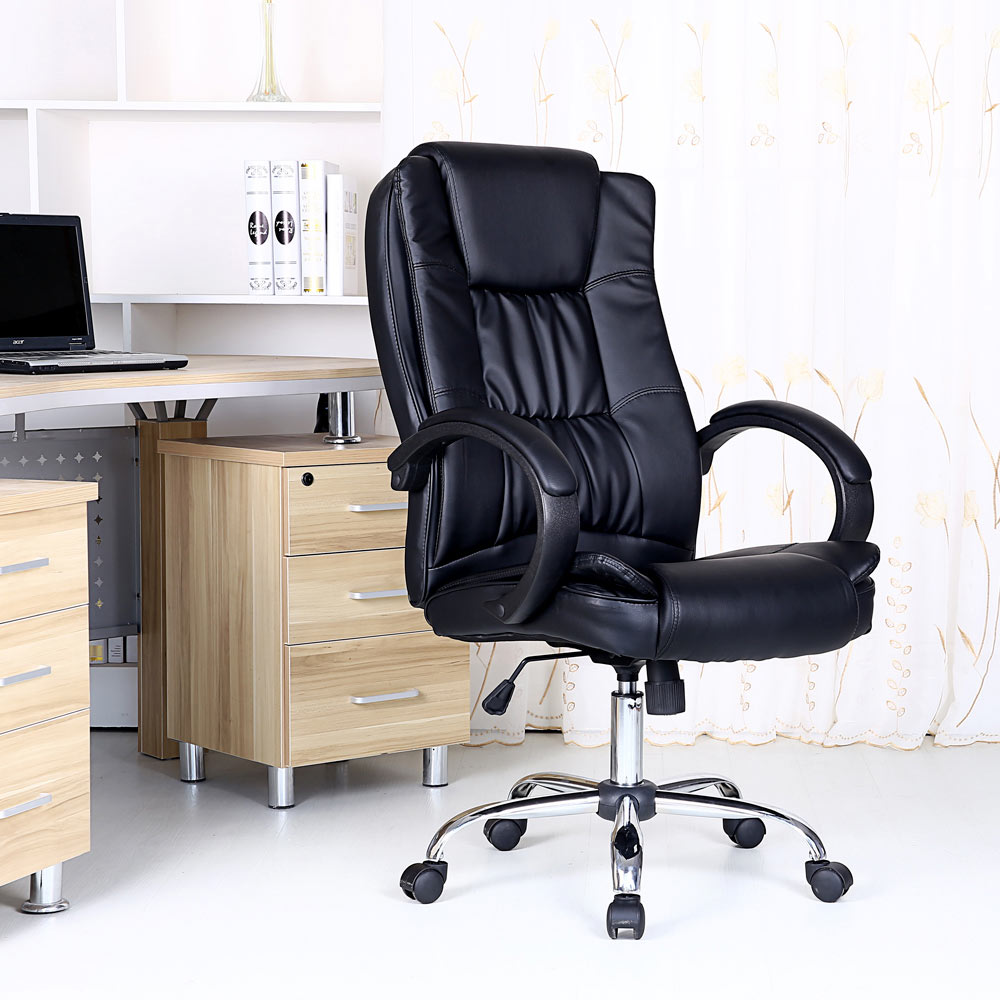 BLACK HIGH BACK EXECUTIVE OFFICE CHAIR LEATHER COMPUTER DESK FURNITURE