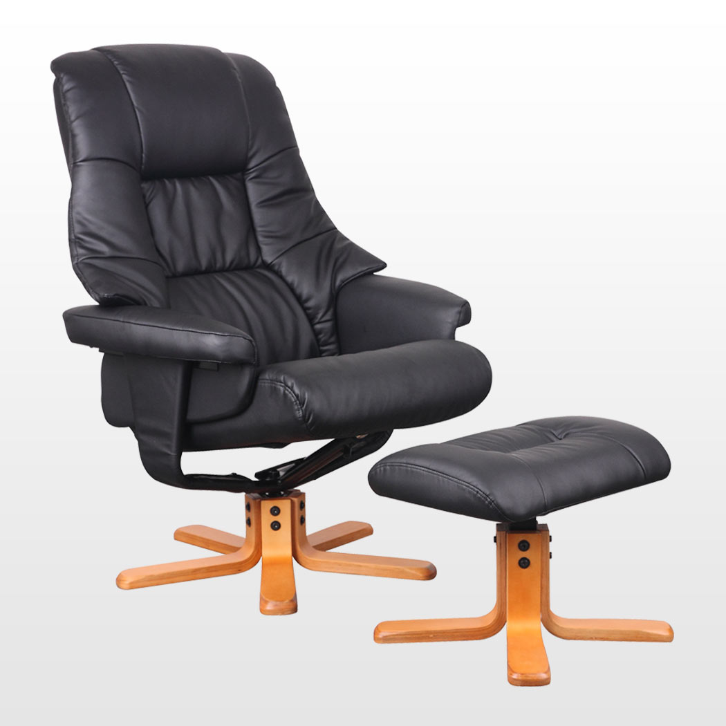 New Real Leather Swivel Recliner Chair W Foot Stool