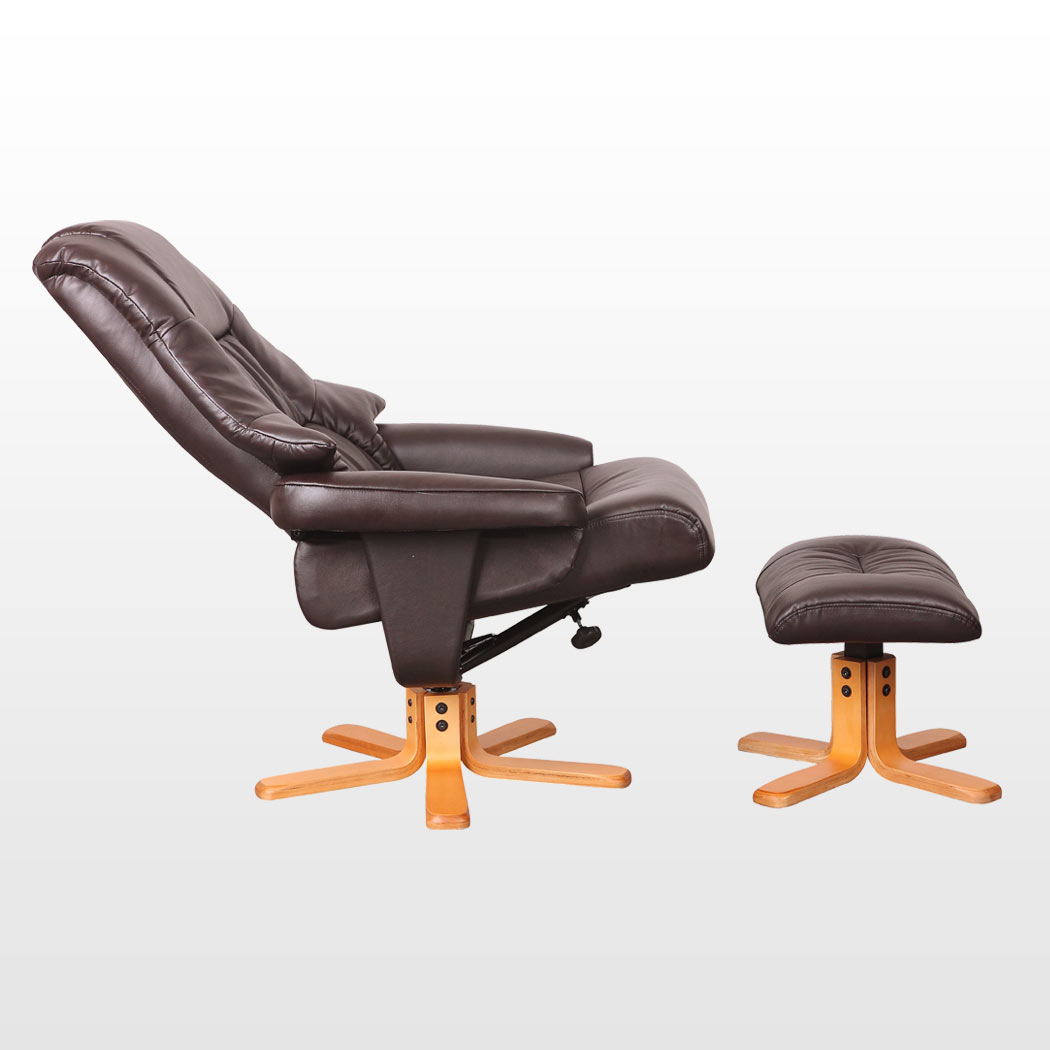 New real leather swivel recliner chair w foot stool armchair home office ebay - Swivel feet for chairs ...