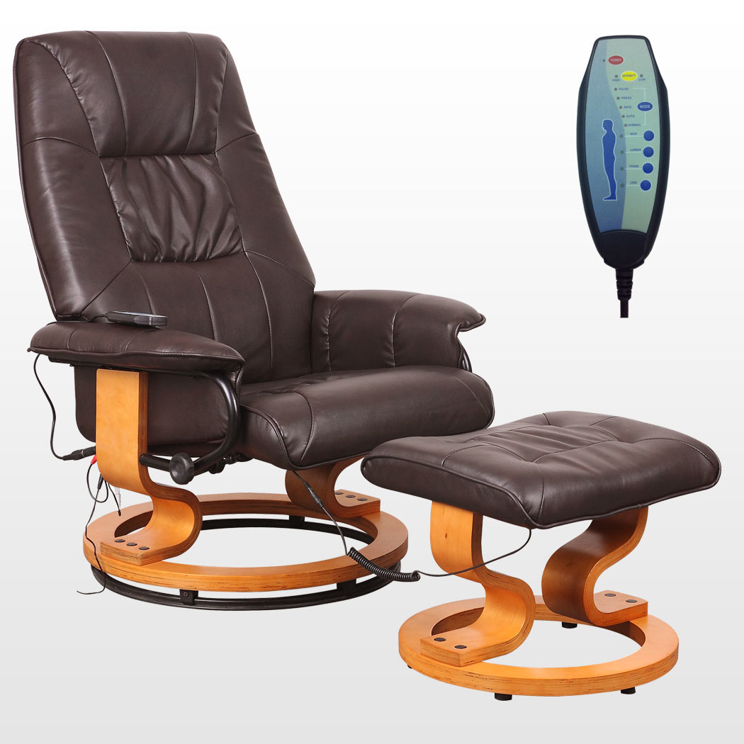 TUSCANY REAL LEATHER BROWN SWIVEL RECLINER MASSAGE CHAIR w ...