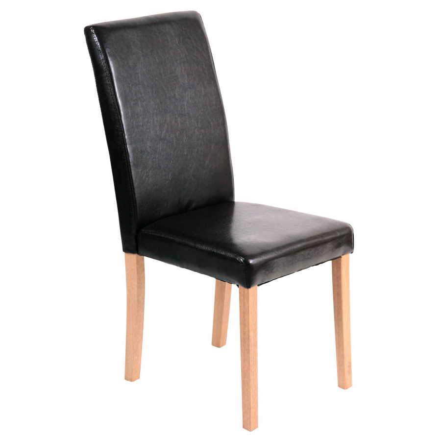 new 5 pcs oak dining table and 4 x black faux leather high back chair