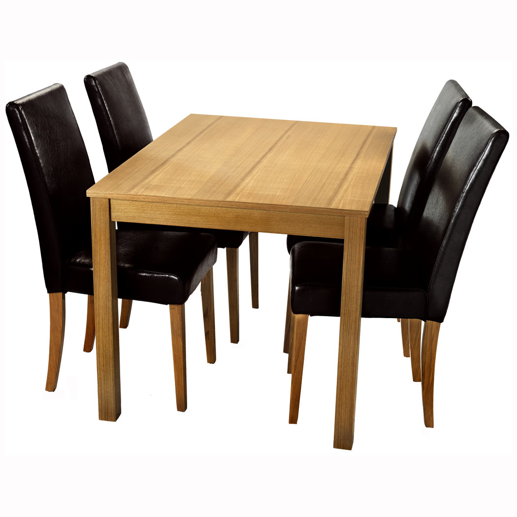 NEW 5 PCS OAK DINING TABLE AND 4 X BLACK FAUX LEATHER HIGH BACK CHAIR SET WOO