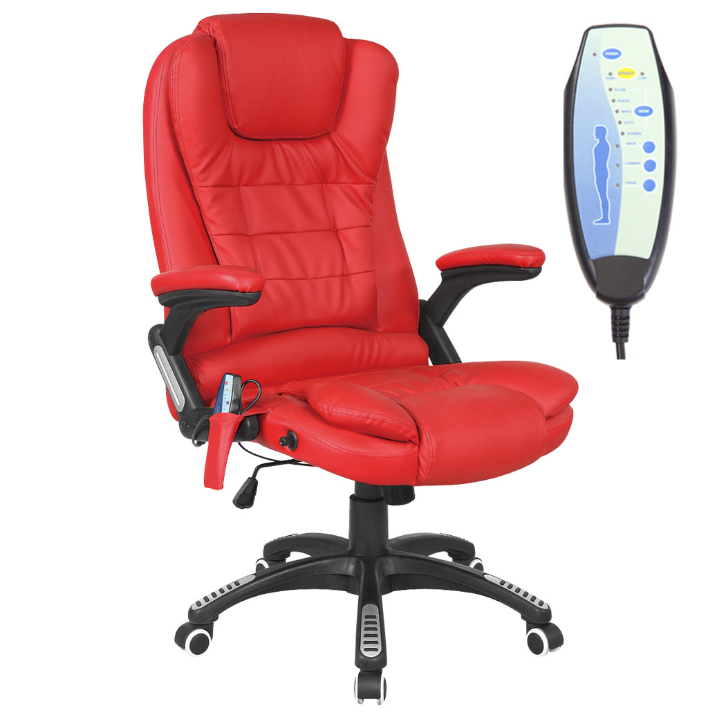 rio leather reclining office chair w 6 point massage high back computer desk ebay. Black Bedroom Furniture Sets. Home Design Ideas