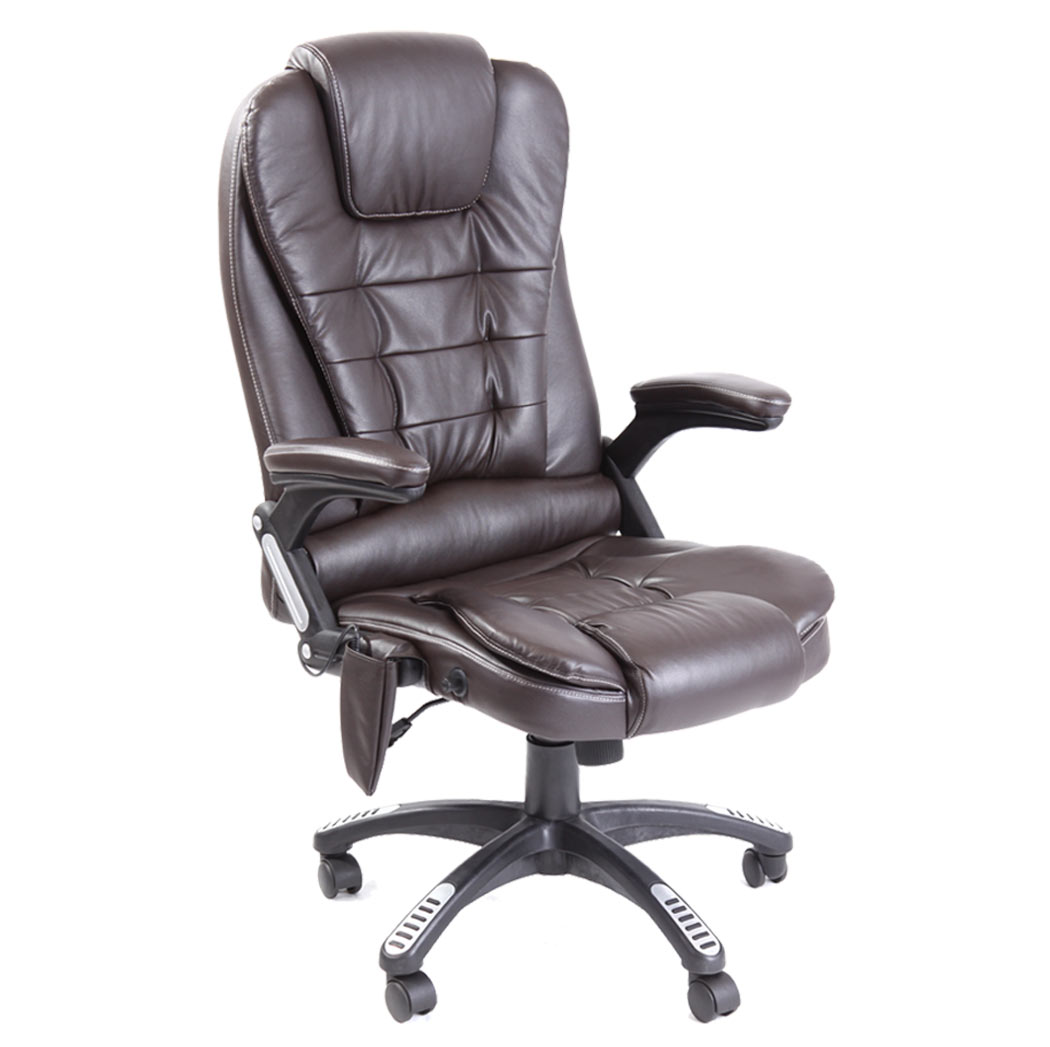Reclining office chair w 6 point massage high back computer desk