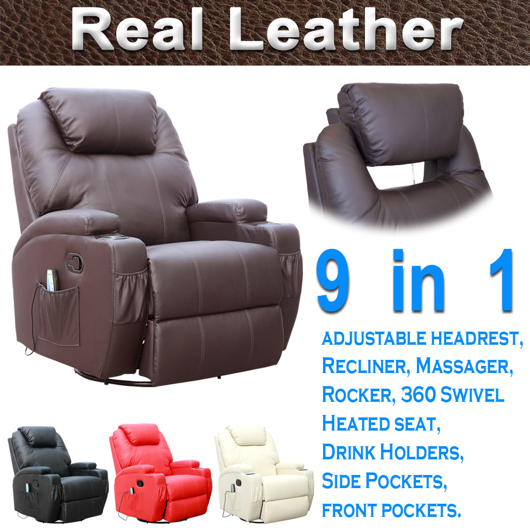 cinemo real leather recliner chair rocking massage swivel heated