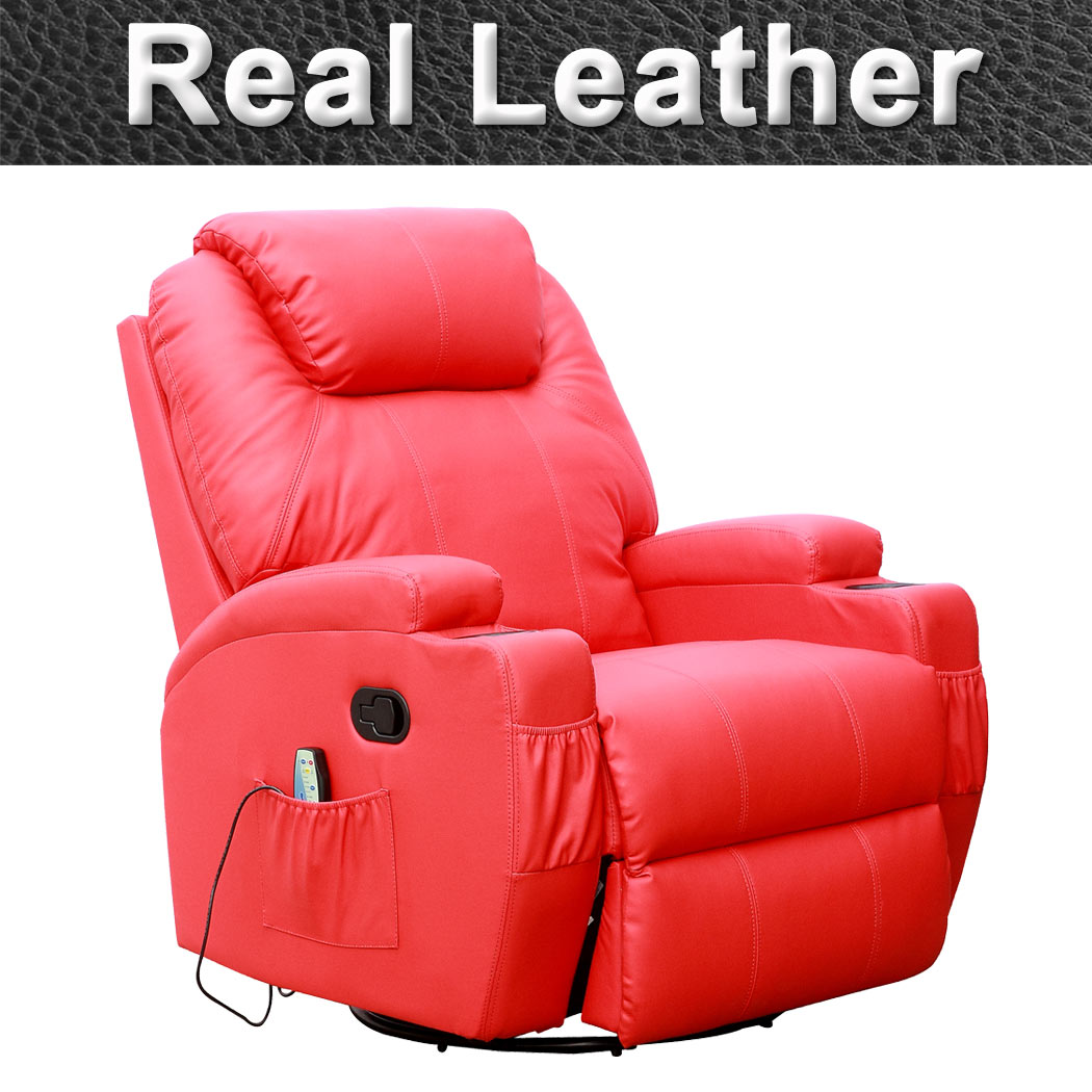 CINEMO REAL LEATHER RECLINER CHAIR ROCKING MASSAGE SWIVEL HEATED GAMING NURSING