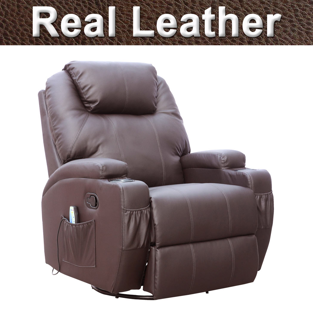 Cinemo Brown Leather Recliner Chair Rocking Massage Swivel