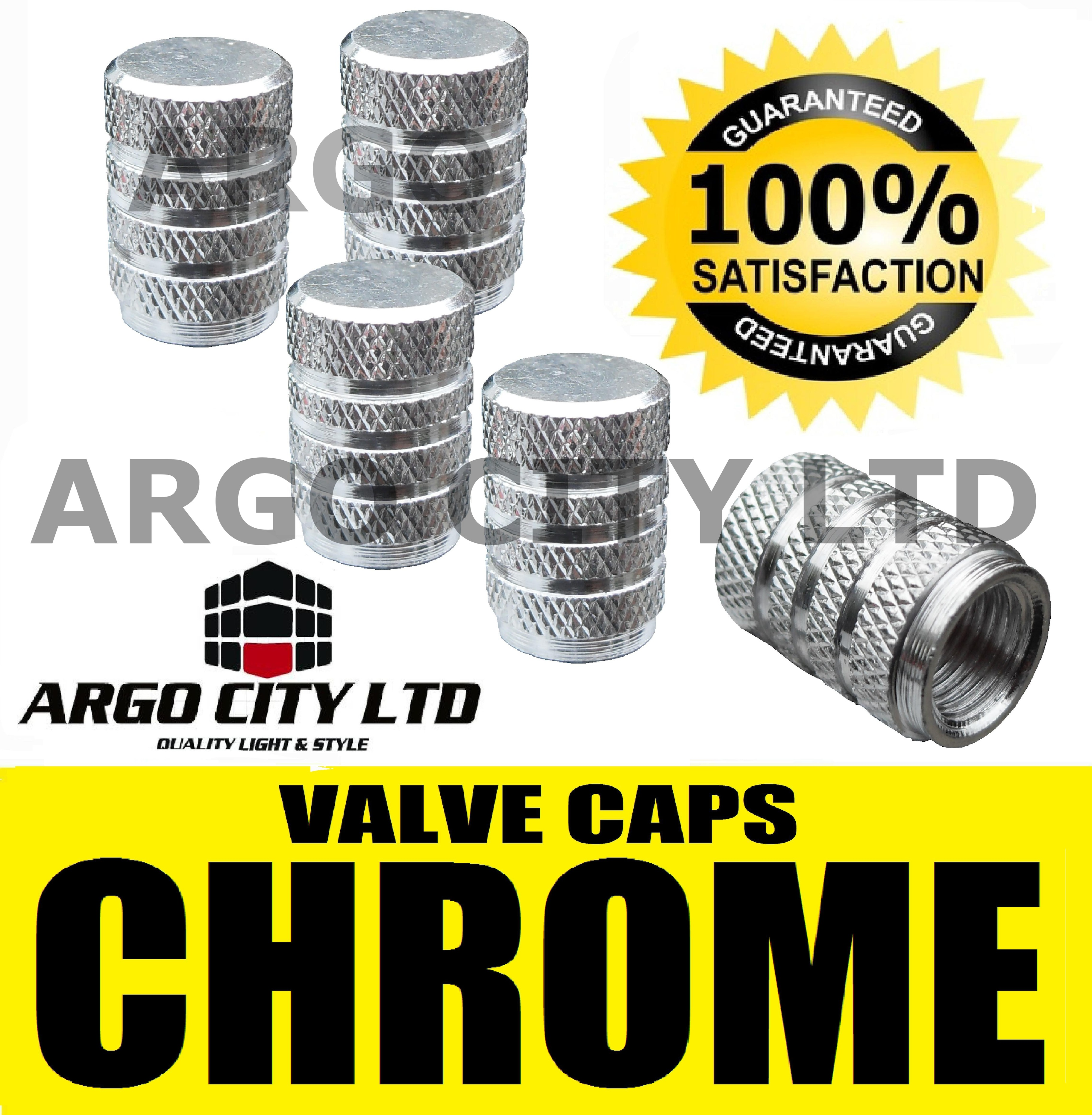 CHROME SILVER VALVE DUST TYRE WHEEL CAPS FORD PUMA COUPE