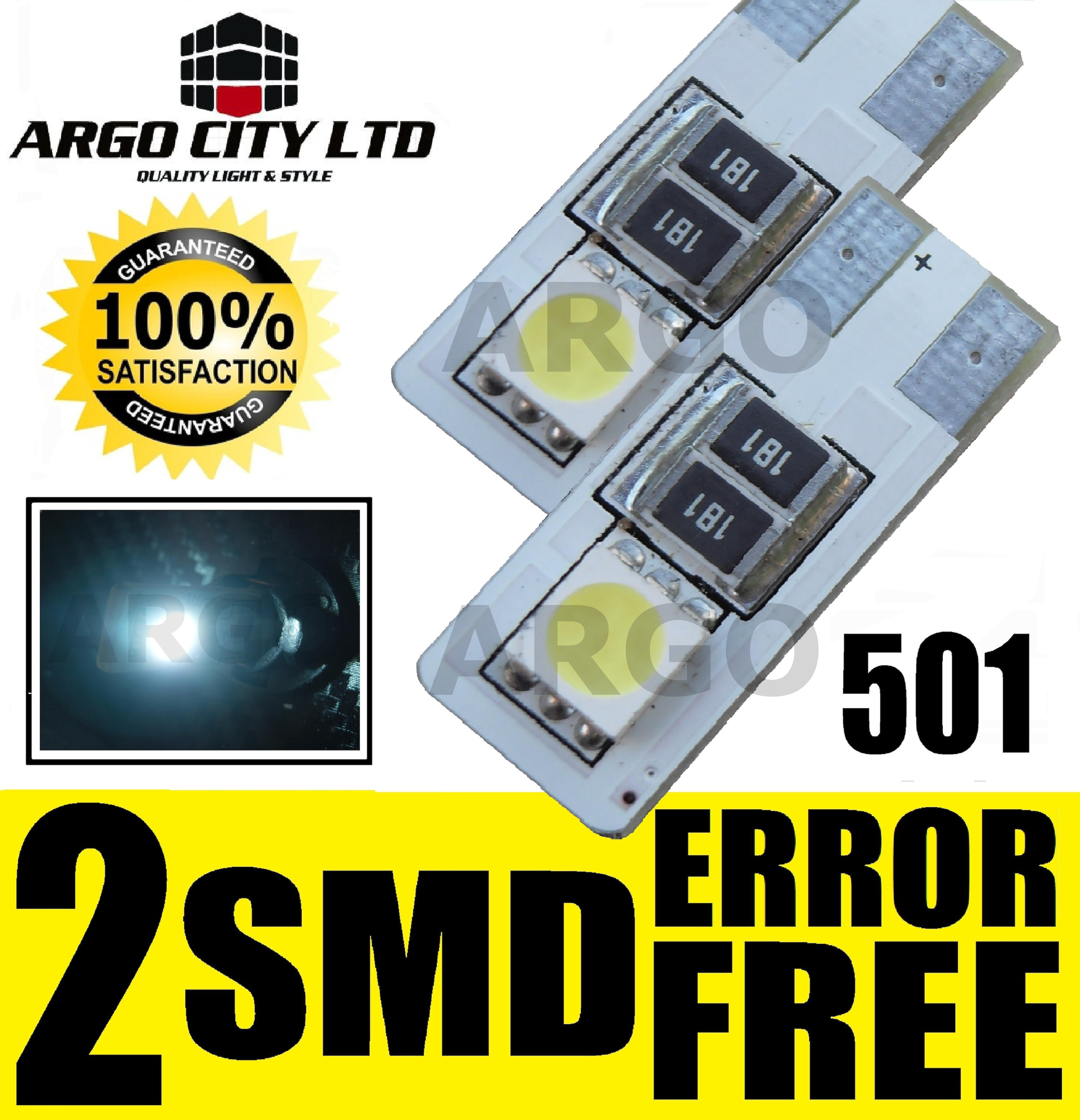 501 2 SMD ERROR FREE CANBUS WHITE SIDELIGHT BULBS CHRYSLER CROSSFIRE COUPE
