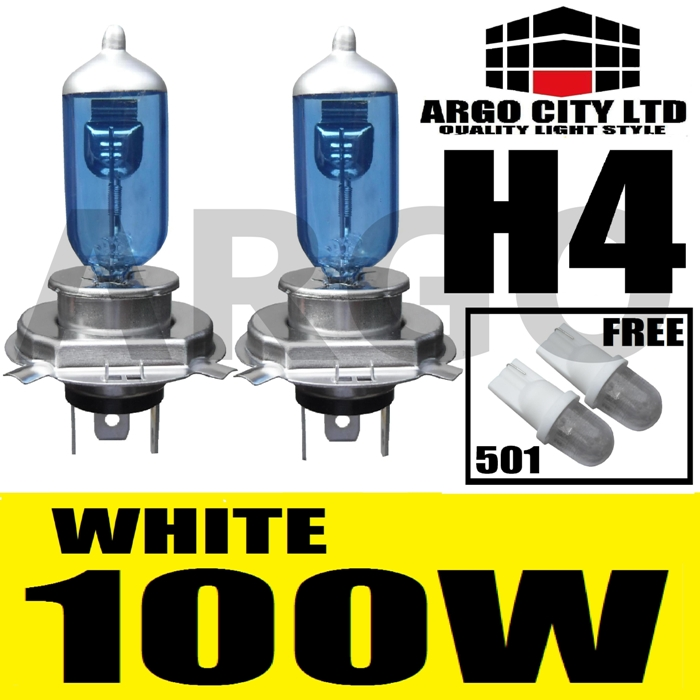 H4 XENON WHITE 100W 472 HEADLIGHT BULBS ABARTH PUNTO EVO
