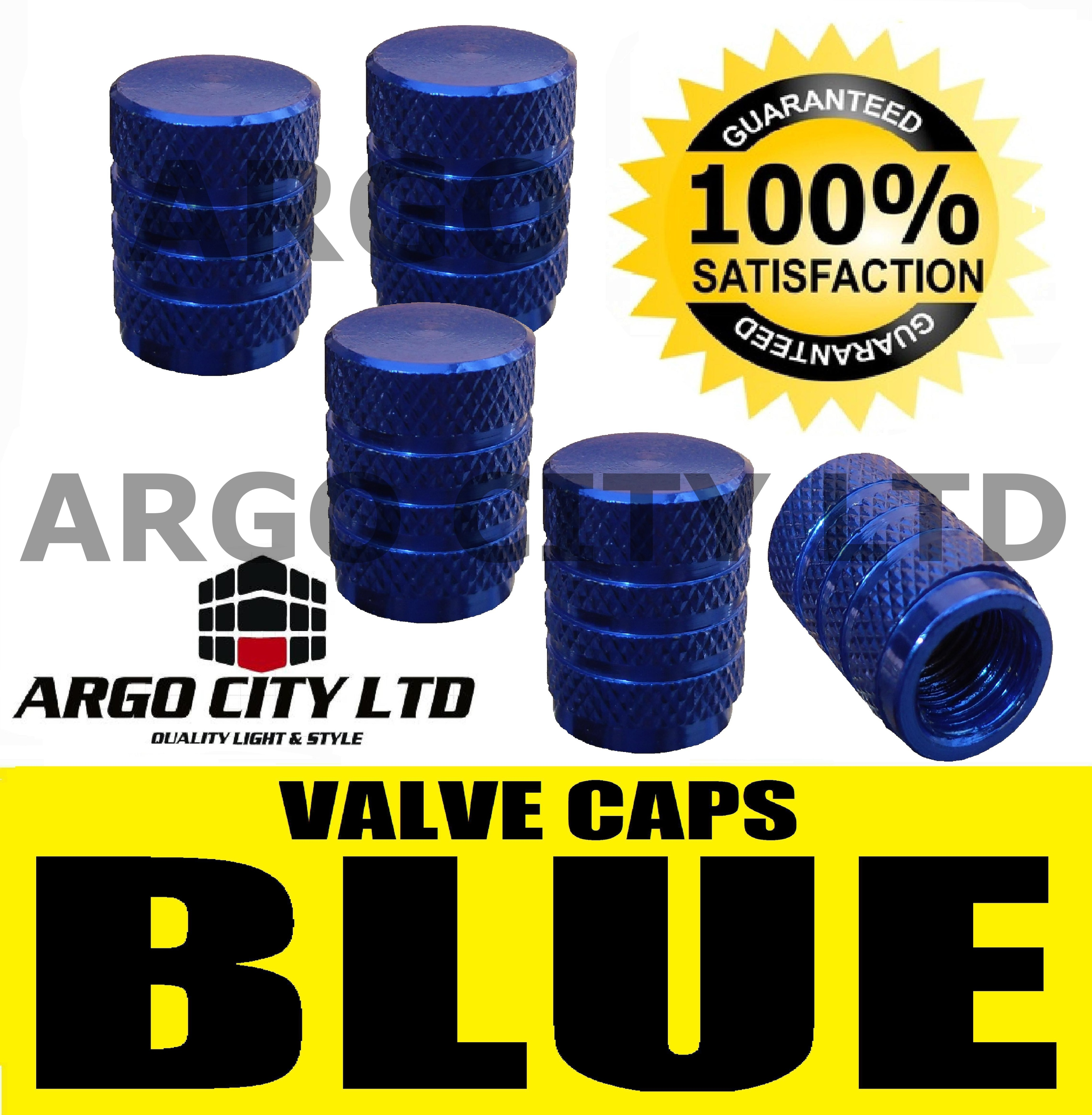 BLUE CHROME ALUMINIUM VALVE DUST TYRE WHEEL CAPS CAR FORD MONDEO SALOON ST ZETEC